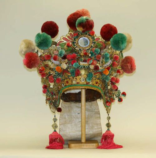 China,19th Century, leather, silk, bast fiber, mirrors, metal, glass