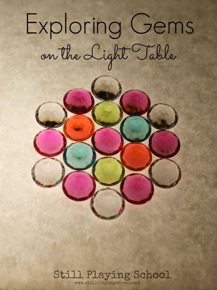 Exploring Math with Gems on the Light Table from Still Playing School  #lighttable #lightplay #math #preschool