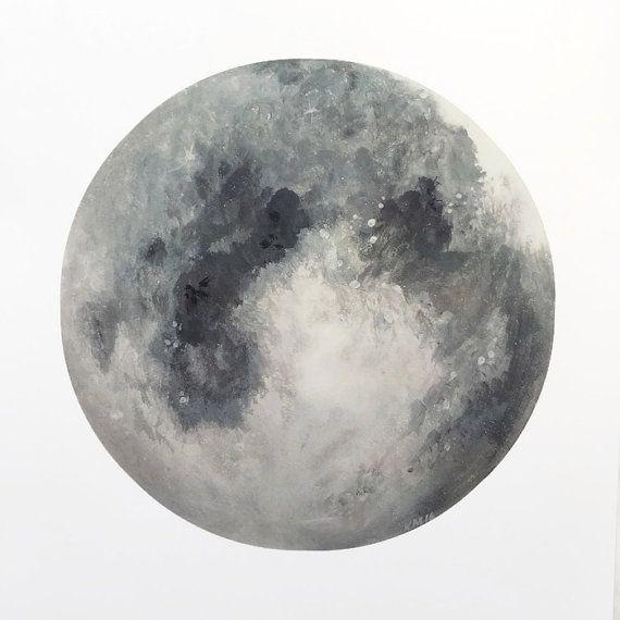 Stampa grigio luna, luna dipinto, Moon Art, luna decorazione, decorazione di…