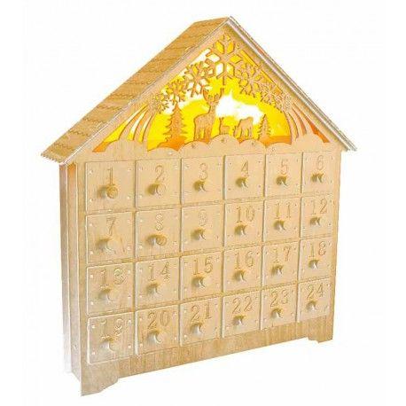 Calendario adviento Navidad madera tallada con luz