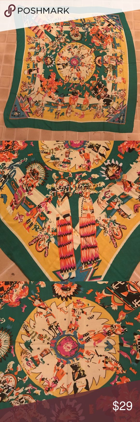 "Tribal, boho, Aztec Scarf Tribal, boho, Aztec scarve . Absolutely stunning brown scarf with so much detail, may have a few pulls but you can't tell. It paints a whole picture. Scarf measures roughly 50""x 50"". 100% viscose. Accessories Scarves & Wraps"