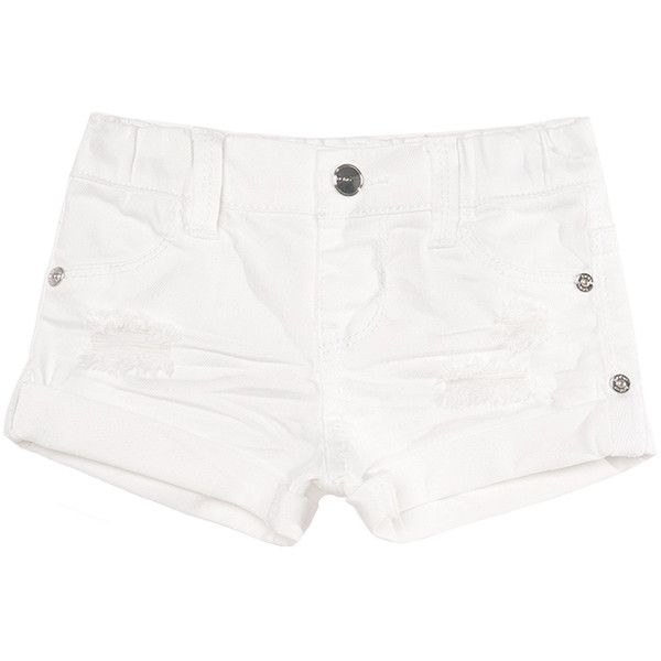 Bebe Women's Denim Roll Cuff Shorts (84.545 COP) ❤ liked on Polyvore featuring shorts, white, distressed jean shorts, ripped jean shorts, ripped shorts, white distressed shorts and distressed shorts
