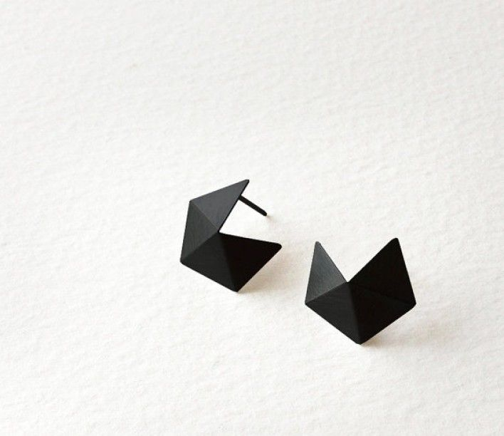 Small Pentagon Stud by RawObjekt.  Materials: sterling silver, oxidized sterling silver.