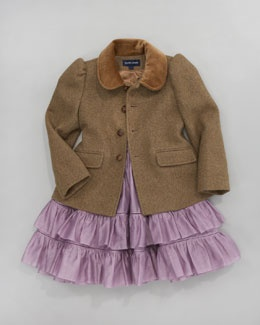 Ralph Lauren tweed jacket and lavender ruffle dress.