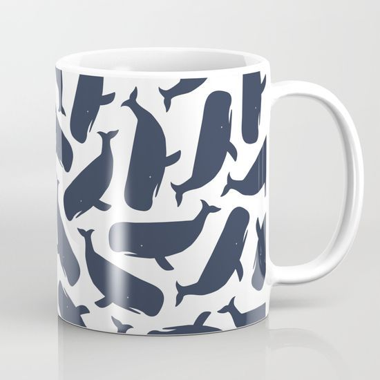 Whale Gale- Sperm whale pattern mug. Nautical design. @society6 Available #whale #whalepattern #design #mug #nautical  in 11 and 15 ounce sizes, our premium ceramic coffee mugs feature wrap-around art and large handles for easy gripping. Dishwasher and microwave safe, these cool coffee mugs will be your new favorite way to consume hot or cold beverages.