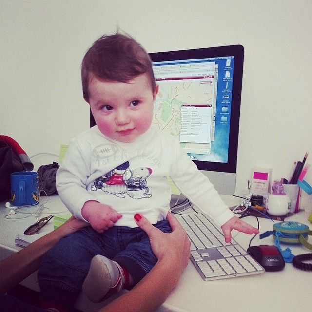Simone on the desk of his mother, our Art Director Michela