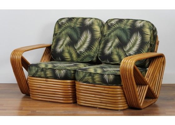 Square Pretzel Rattan Sofa by Paul Frankl, 1930s for sale at Pamono