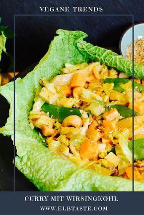 BUNTES CURRY MIT WIRSINGKOHL UND CASHEWKERNEN Zutaten ½ Wirsingkohl 120 g Cashewkerne 1 Süßkartoffel 100 g Sojasprossen 80 g Zuckerschoten 1 Schalotte 1 Räuchertofu 1-2 EL Agavendicksaft 1 Lorbeerblatt 1 EL Currypulver 2 EL Sesam 175 ml Sojajoghurt 2 Tassen Reis 200 ml Gemüsebrühe 2 EL Kokosfett Das gesamte Rezept und die Zubereitung dieses wunderbaren Gerichts findet ihr auf unserem Blog: www.elbtaste.com