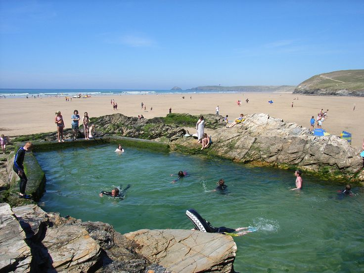 Swimming in the sea pool at Chapel Rock, Perranporth Beach _ swam with n that many a time. There's one in Mousehole too!!