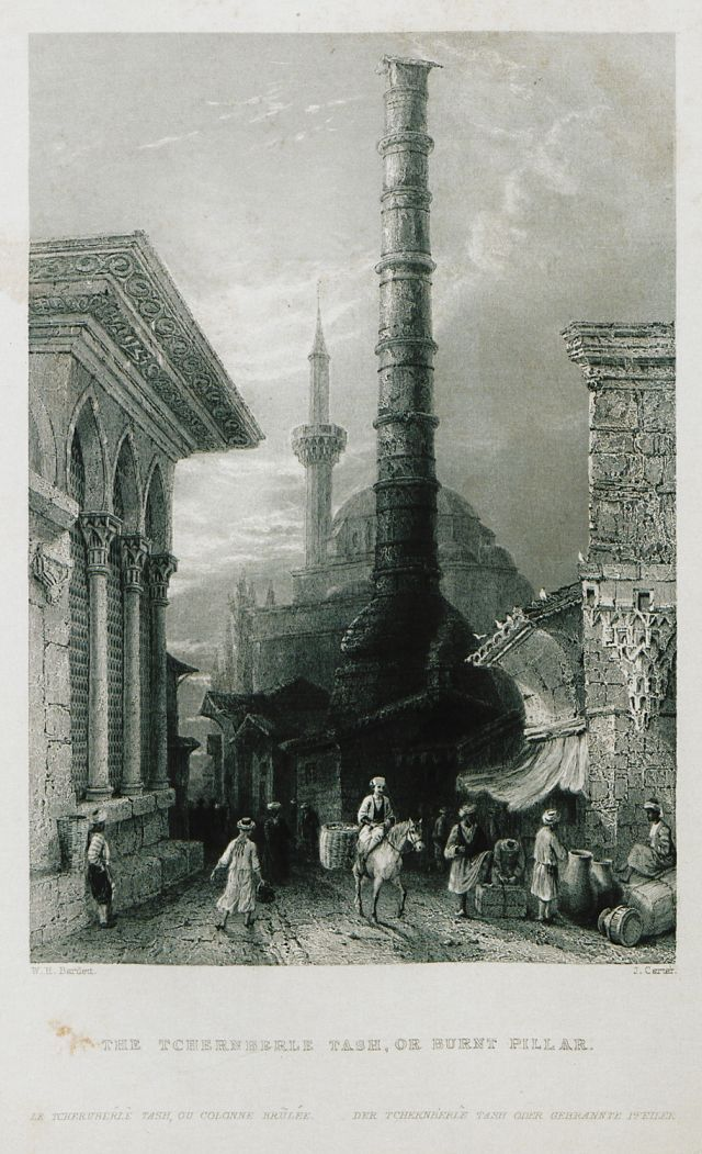 The Column of Constantine (Çemberlitaş sütunu). In the background the Köprülü Mehmet Paşa Mosque.1838