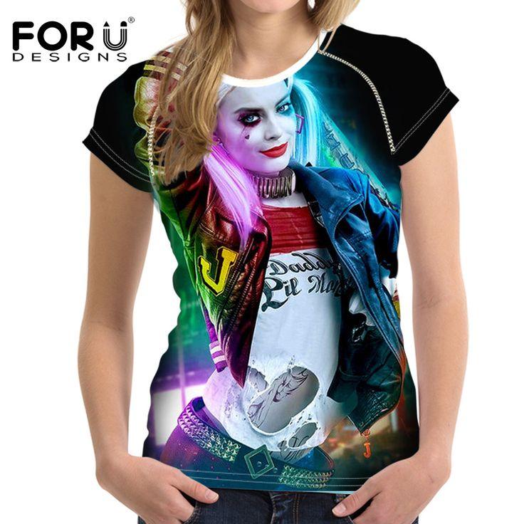 FORUDESIGNS Casual Summer Women T-Shirt Crop Tops Cool Punk Harley Quinn Women Short-sleeved Tshirt For Girls Roupa Feminina