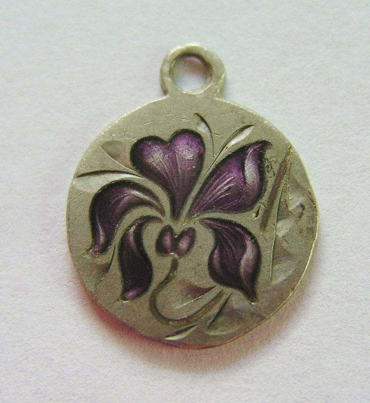 Heart Silver Charm With Violet Enamel