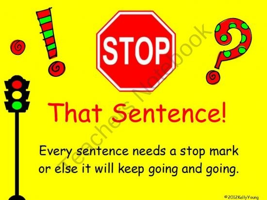 Stop That Sentence Punctuation Game product from KellyYoung on TeachersNotebook.com