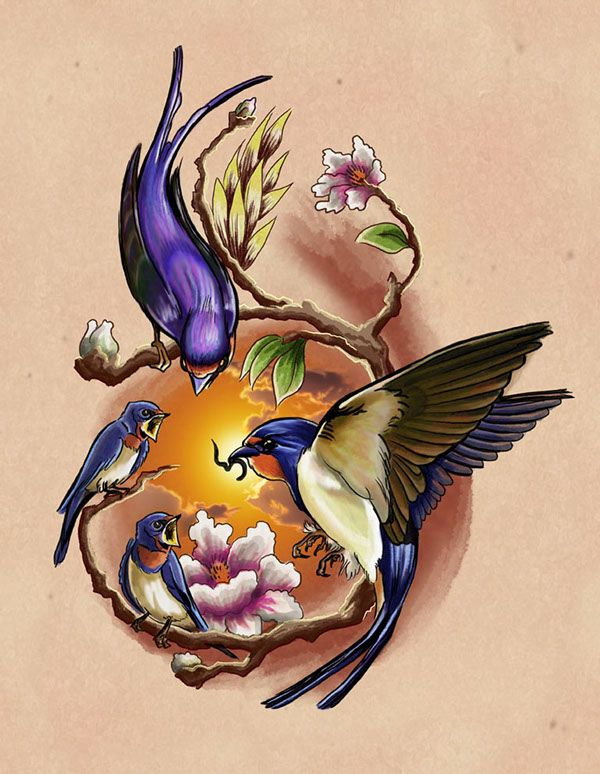 Golondrinas (Tattoo Design) on Behance