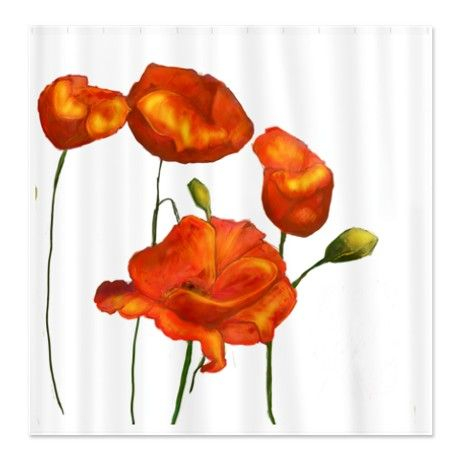 Poppies (orange) Shower Curtain  Orange Shower Curtain