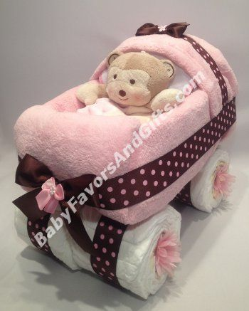 Pink and Brown Baby Carriage Diaper Cake - 9990119 - Baby Girl - Diaper Cakes