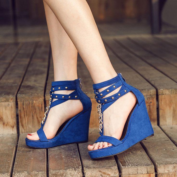Sandálias cunhas preto saltos cravejados mulheres grossas de salto alto sandálias gladiador das mulheres sandálias plataforma cunhas sapatos de salto azul X433 em Sandálias das mulheres de Sapatos no AliExpress.com | Alibaba Group
