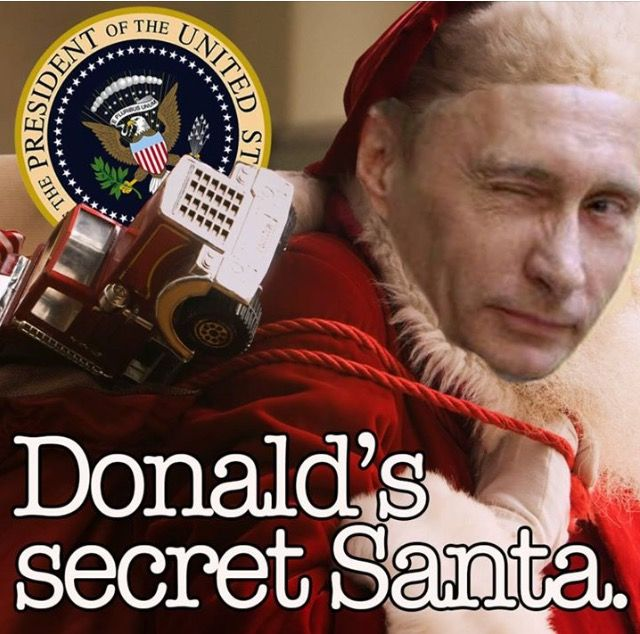 This is a horatian satire which mimic Putin as Trump's Santa.  It depicts Putin as the person whom helped Trump to gain presidency.  I just thought it as an interesting political image.  The goal of this satire is to convince people about Putin's intervention in the election of 2016, and the effectiveness depends on readers.