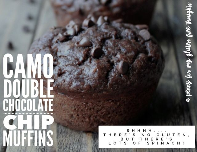A Penny For My Gluten Free Thoughts: Gluten & Dairy Free Camo Chocolate Chip Muffins...with lots of spinach!
