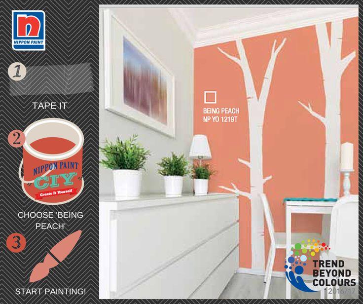 Tingkatkan kualitas dinding Anda ke tingkat selanjutnya dengan membuat beberapa lukisan dinding sederhana. Being Peach NP YO 1219T merupakan warna tepat untuk menambahkan sentuhan terang dan nuansa menyenangkan untuk ruangan Anda.