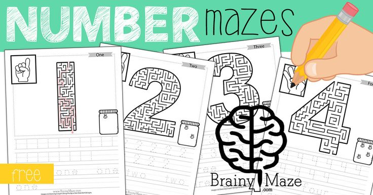 Free Educational Mazes for Kids!  This set of free number mazes includes ASL, Counting Practice, Handwriting and more!  www.BrainyMaze.com