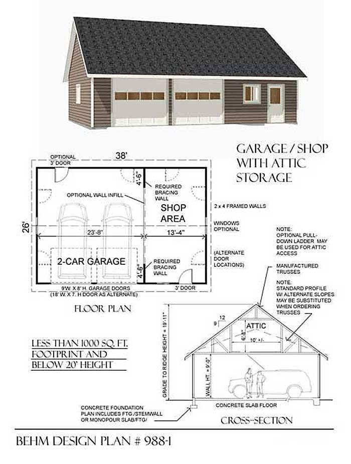 2 Car Suv Garage With Shop And Attic Plan 988 1 38 X 26 By Behm Design Garage Shop Plans Garage Plans Detached 2 Car Garage Plans