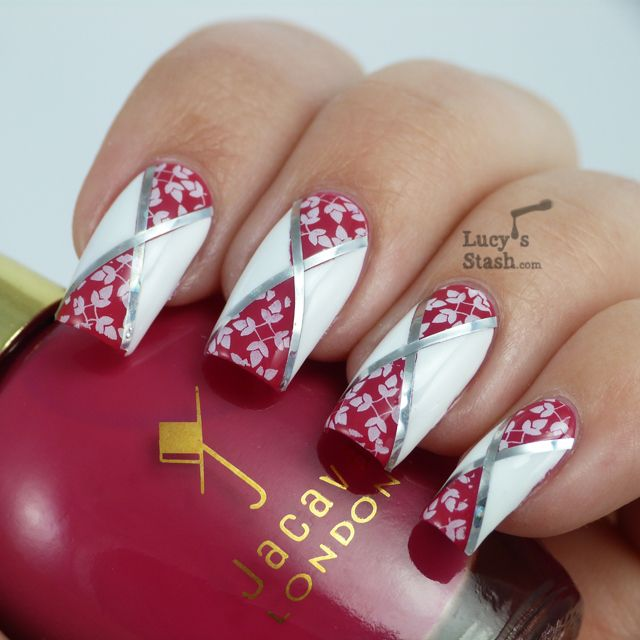 Lucy's Stash - Diagonal Nail Art feat. Jacava London Candy Floss and Mont Blanc