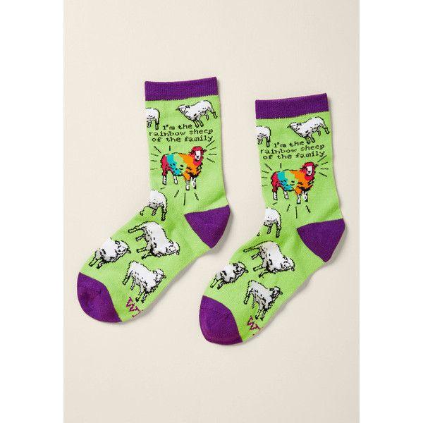 Wool Your Own Thing Socks ($9) ❤ liked on Polyvore featuring intimates, hosiery, socks, woollen socks, multi color socks, woolen socks, colorful wool socks and multicolor socks