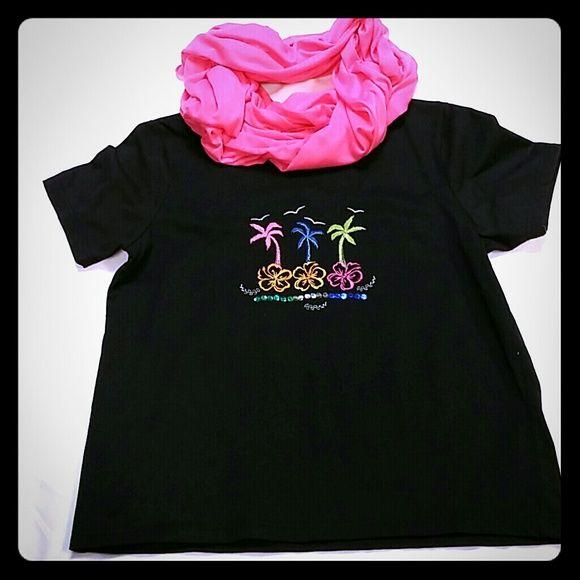 Tropical Petite Tee shirt.  FINAL DISCOUNT.  Black petite short sleeved top. Vacation fun. Wheres the pool? Shenanigans Tops Tees - Short Sleeve