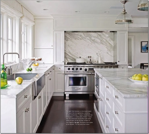 White Kitchen Counter: Carrara Marble Countertops