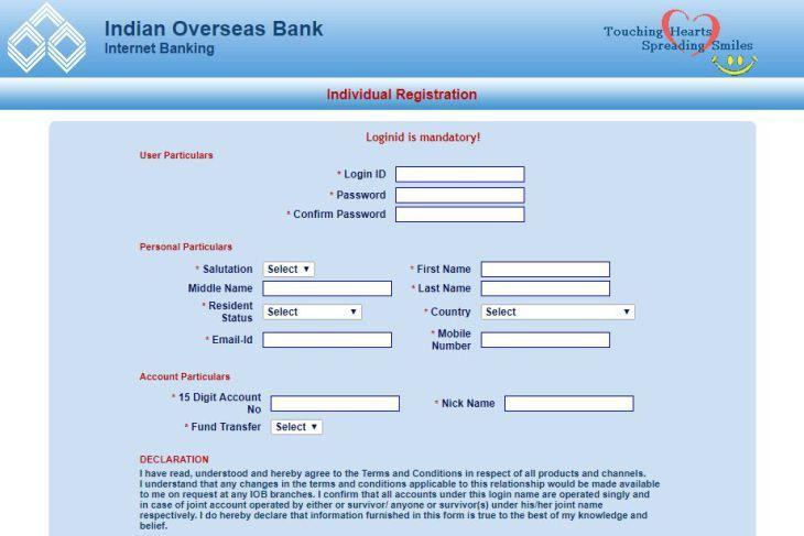 How To Apply For Iob Net Banking And Activate Account Online Online Accounting Online Registration Form Banking