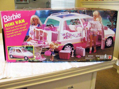 Barbie Mini Van Vehicle Car Furniture Camp Grill SUV Pink Picnic New in Box 1995 | eBay