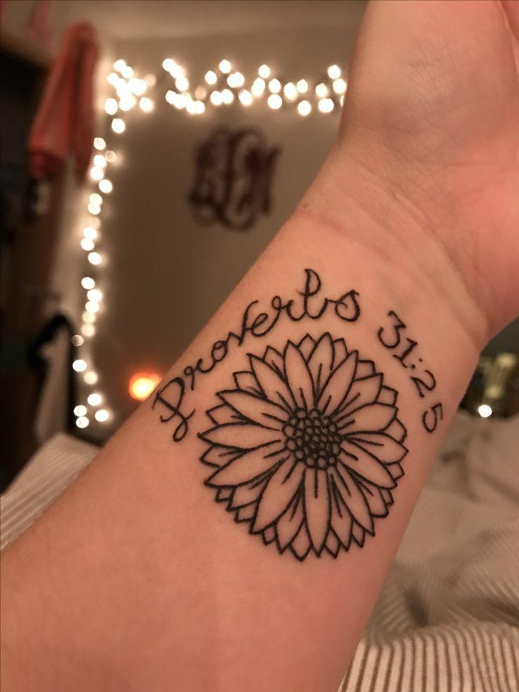 proverbs 31:25 scripture daisy tattoo