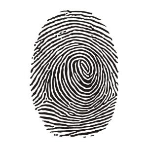 ASH The simplicity of this finger print silhouette represents a multitude of allusions to constrained visual language. There is, of course, the representation of identity, and uniqueness, as there are no two fingerprints the same.