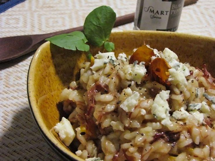Receita de risoto de carne seca, com cubos de abóbora japonesa e farelo de gorgonzola