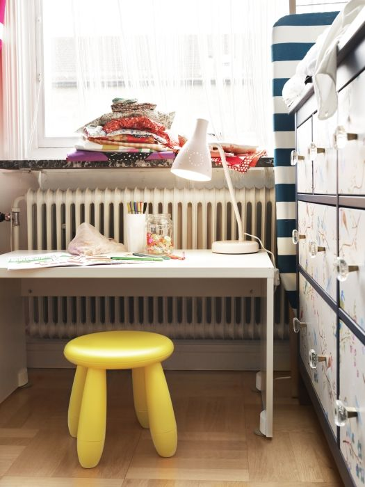 The STUVA storage bench also makes a sweet desk.