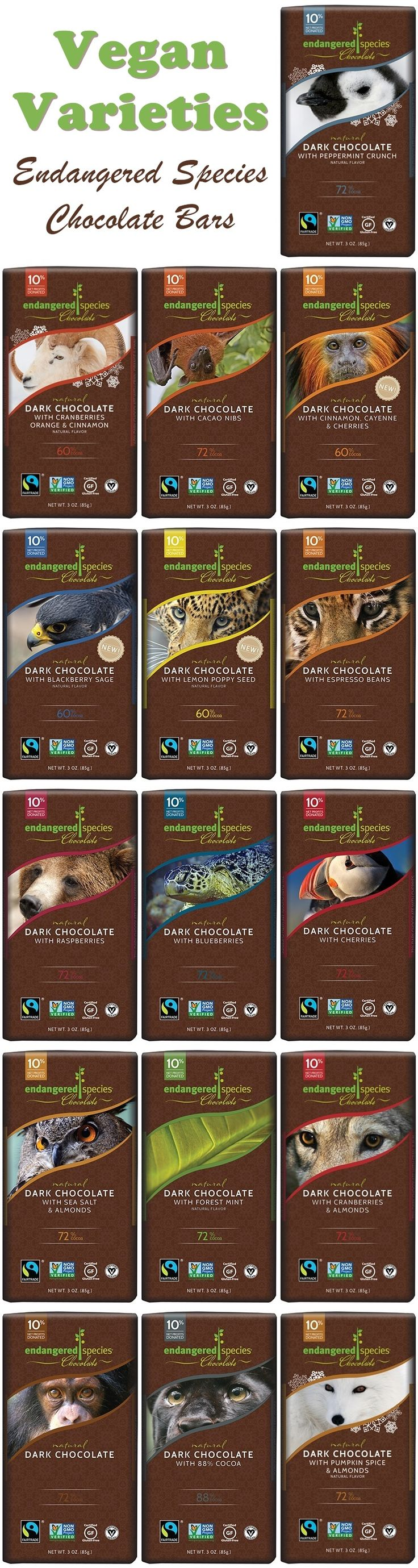 Endangered Species Chocolate Bars - Review and List of Vegan and Dairy-Free Varieties (certified gluten-free, too!)