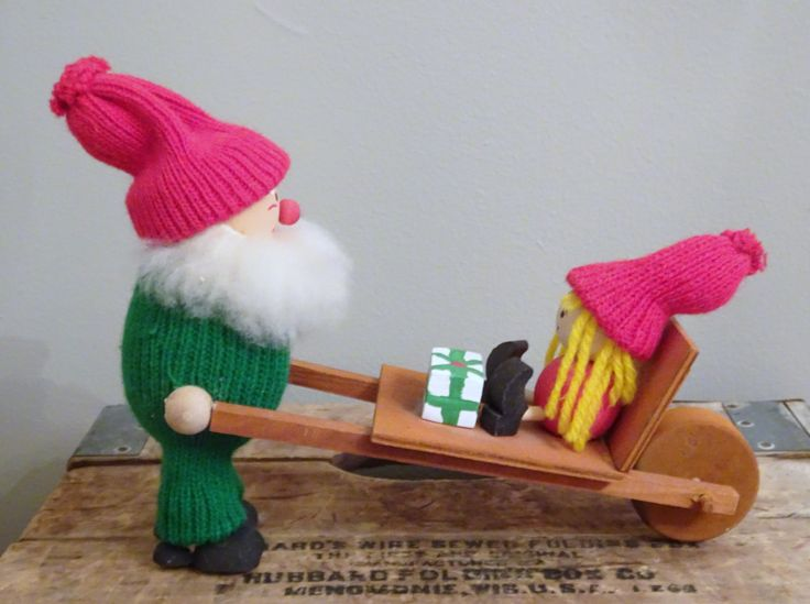 Swedish Christmas Tomte, Santa Clause w Wheelbarrow | Scandinavian | Retro Christmas Gnome | Large Santa Clause w/Gifts Wooden Figurine by SimplyAgain on Etsy