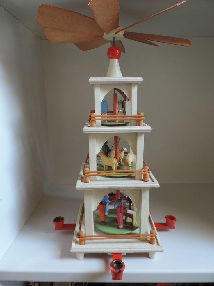 Weihnachtspyramide,Erzgebirge,3 Ebenen,Höhe 44 cm,antik in Antiquitäten & Kunst, Volkskunst, Erzgebirge | eBay