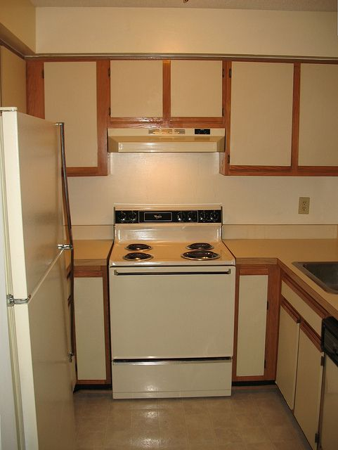 ( Update : see the completely finished cabinets here .) We are finally  getting around to fixing up what