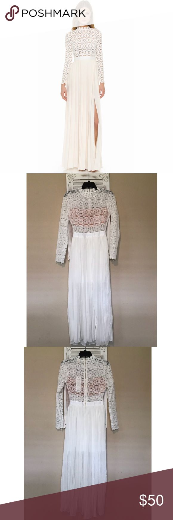 White flower crochet maxi dress White maxi dress with fitted bodice and sheer skirt that flares out. Skirt is partially lined. Self portrait inspired. NWOT. Dresses Maxi