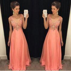 Robe De Soiree 2016 A-Line V Neck Peach Color Chiffon Floor Length Plus Size Long Prom Dress Evening Dresses With Beads