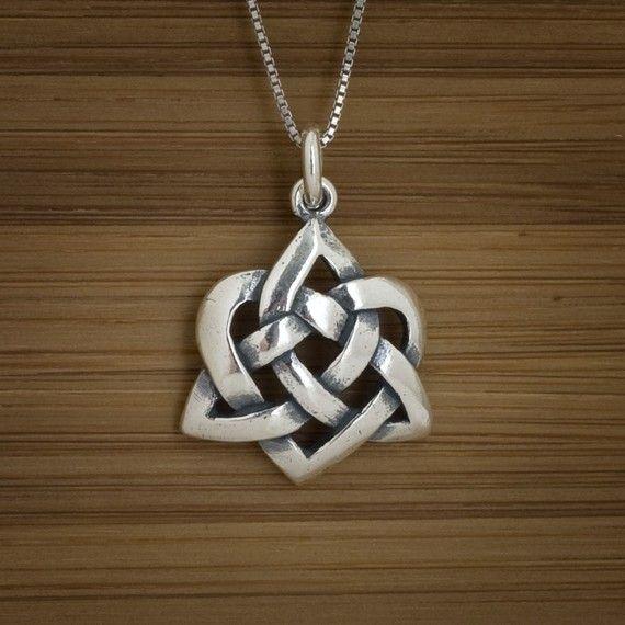 Celtic Heart Pendant  STERLING SILVER by LittleDevilDesigns, $20.00