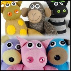 Sock Animals  These precious sock animals are very easy to make. Instructions are given to make six animals – a giraffe, zebra, monkey, bear, puppy and pig. All animals are assembled using a whip stitch by hand.