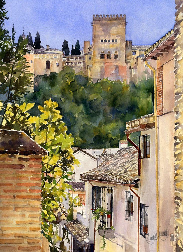 Alhambra desde el albaicin granada pinterest - Pinturas arenas granada ...