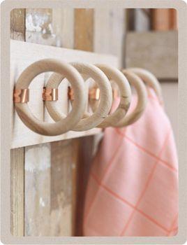 anneaux sur planche en bois, DIY