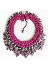 FIRE DE MURG SILVER NECKLACE WITH DUBBEL BRAIDS CHARMS AND BEADS PURPLE http://bit.ly/1uSeHUD wearitwithlove.com | Contemporary Fashion. Young Designers