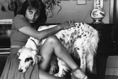 Anna Magnani and her devoted pet.