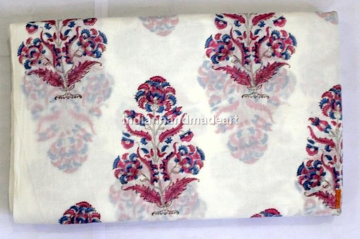 5 Yard Indian Hand Block Print 1000% Cotton Fabric Sanganeri Print Floral Fabric #Handmade