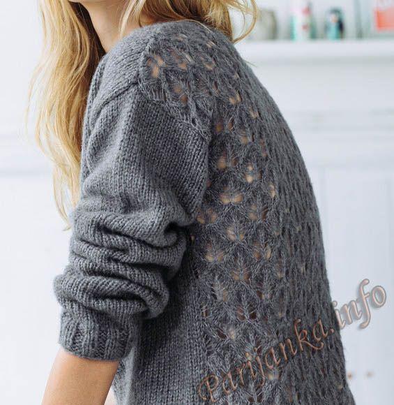 Пуловер с V вырезом (ж) 04*135 Phildar №4787